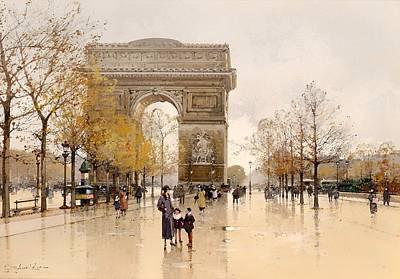 Wet On Wet Painting - Arc De Triomphe - Paris by Mountain Dreams