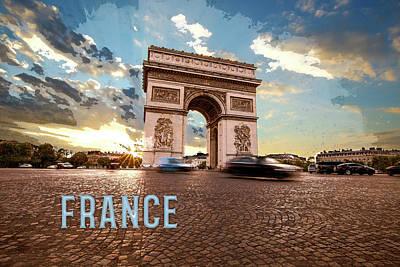 Iconic Painting - Arc De Triomphe Paris France  Text France by Elaine Plesser