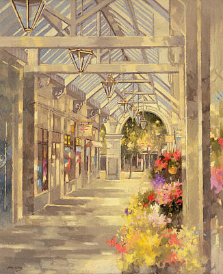 Sunlight On Pots Painting - Arcade by Peter Miller