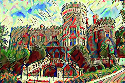 Beaver Digital Art - Arcadia College - Grey Towers Castle Watercolor by Bill Cannon