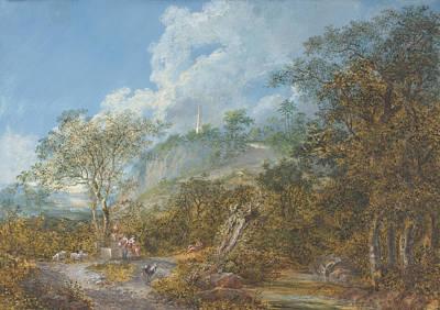 Arcadian Landscape With An Obelisk Print by Salomon Gessner