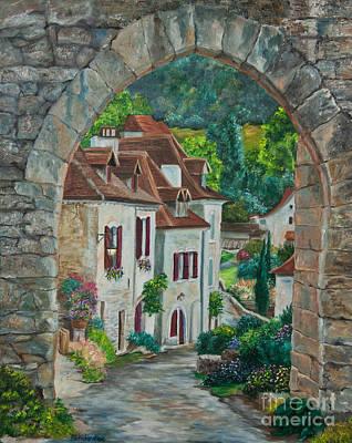 Arch Of Saint-cirq-lapopie Print by Charlotte Blanchard