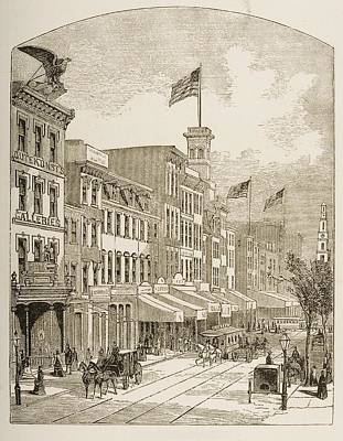 Pennsylvania Drawing - Arch Street Philadelphia Pennsylvania by Vintage Design Pics