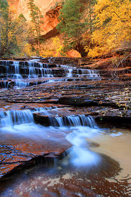 Water Photograph - Archangel Fall In Zion National Park by Pierre Leclerc Photography