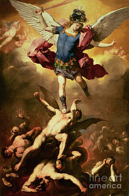 Cherubs Painting - Archangel Michael Overthrows The Rebel Angel by Luca Giordano