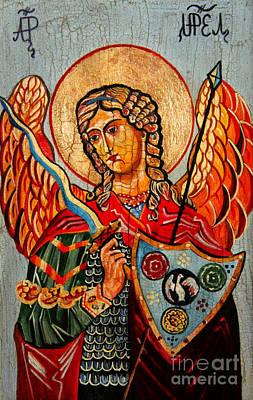Jesus Christ Icon Painting - Archangel Uriel by Ryszard Sleczka