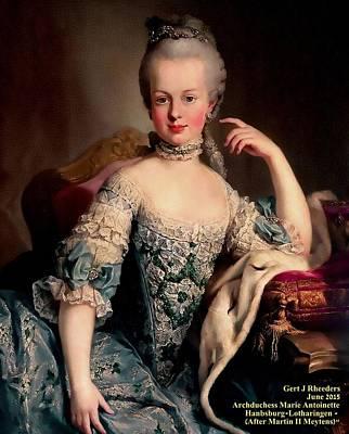 Hairstyle Digital Art - Archduchess Marie Antoinette Habsburg Lotharingen After Martin II Meytens by Gert J Rheeders