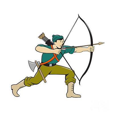 Archer Digital Art - Archer Aiming Long Bow Arrow Cartoon by Aloysius Patrimonio