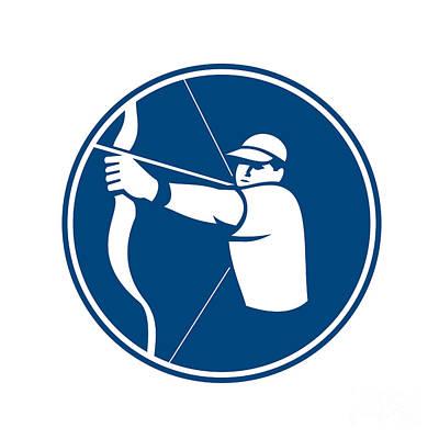 Archer Digital Art - Archer Bow Arrow Circle Icon by Aloysius Patrimonio