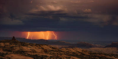 Thunderhead Photograph - Arches Light Show by Darren White