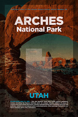 National Parks Mixed Media - Arches National Park In Utah Travel Poster Series Of National Parks Number 02 by Design Turnpike
