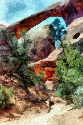 Tourism Digital Art - Arches National Park Trail by Michelle Calkins