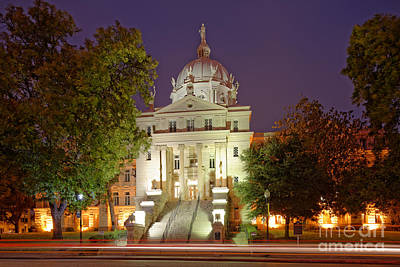 Architectural Photograph Of Mclennan County Courthouse At Dawn - Downtown Waco Central Texas Print by Silvio Ligutti