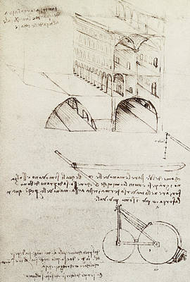 Bicycle Art Drawing - Architectural Study by Leonardo Da Vinci
