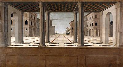 Francesco Di Giorgio Martini Painting - Architectural Veduta by Attributed to Francesco di Giorgio Martini