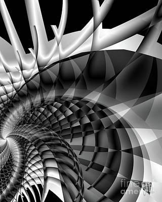 Architecture 101 Fractal Structure, Black, White Print by Tina Lavoie