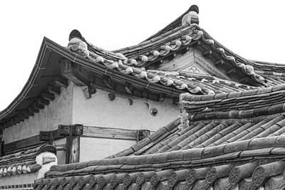 Monochrome Photograph - Architecture Of Bukchon Hanok Village Bw by James BO Insogna