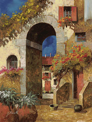 Roofs Painting - Arco Al Buio by Guido Borelli