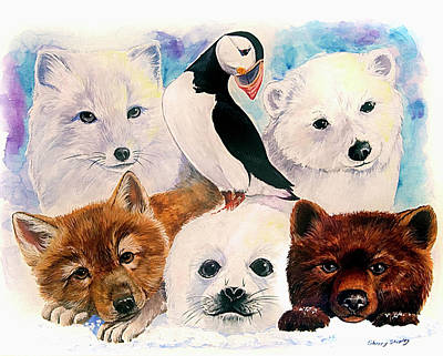 Puffin Mixed Media - Arctic Babies by Sherry Shipley
