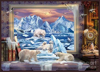 Arctic Digital Art - Arctic Bears Coming by Jan Patrik Krasny