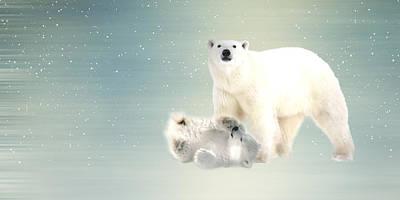 Lisa Mixed Media - Arctic Family Pano by Sharon Lisa Clarke