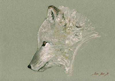 Arctic Fox Head Original by Juan  Bosco