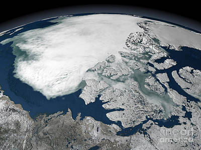 Arctic Sea Ice Above North America Print by Stocktrek Images