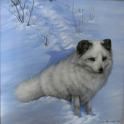 Arctic Dog Painting - Arctic Shadows by Clare Shaughnessy