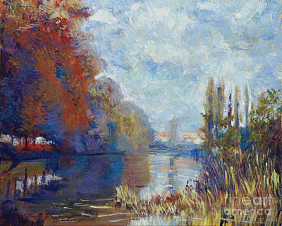 Argenteuil On The Seine - Sur Les Traces De Monet Print by David Lloyd Glover