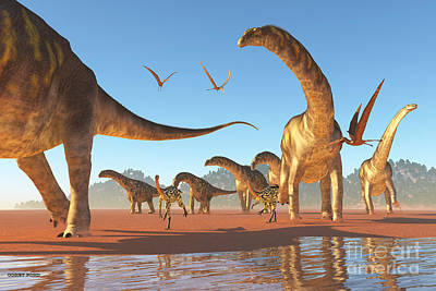 Argentinosaurus Herd Print by Corey Ford