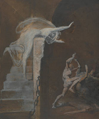 Greek Mythology Painting - Ariadne Watching The Struggle Of Theseus With The Minotaur by Henry Fuseli