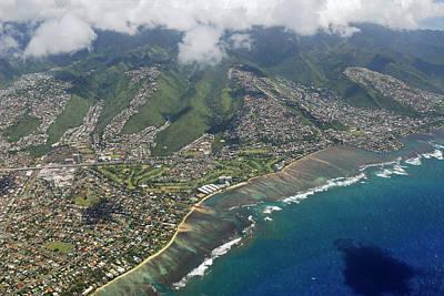 Hawaii Photograph - Arial View Of Kahala And Maunalua Bay Oahu by Reimar Gaertner