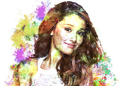 Ariana Grande Print by Elena Kosvincheva