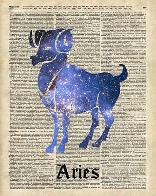 Constellation Mixed Media - Aries Ram Zodiac Sign by Jacob Kuch