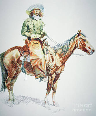 Stallion Drawing - Arizona Cowboy, 1901 by Frederic Remington