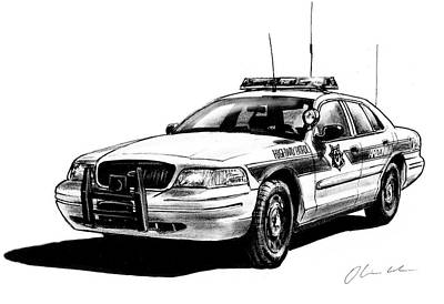 Arizona Highway Patrol Cruiser Print by Oliver Cook