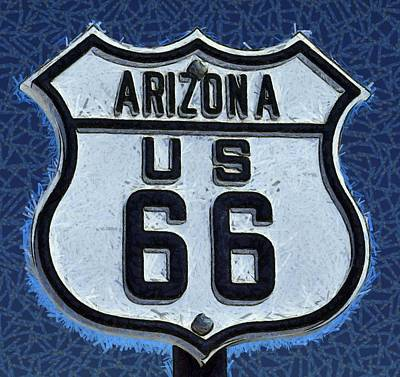 Kicked Painting - Arizona Highways Route 66 by Barbara Snyder