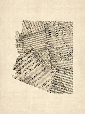 Arizona Map, Old Sheet Music Map Print by Michael Tompsett