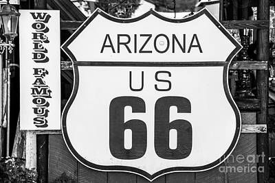 Will Rogers Photograph - Arizona Route 66 Sign by Anthony Sacco