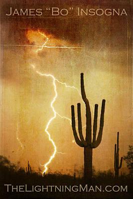 Arizona Saguaro Lightning Strike Poster Print Print by James BO  Insogna