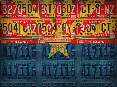 Grand Canyon Mixed Media - Arizona State Flag Vintage License Plate Art by Design Turnpike