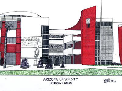 Pac-10 Universities Drawings Mixed Media - Arizona University by Frederic Kohli