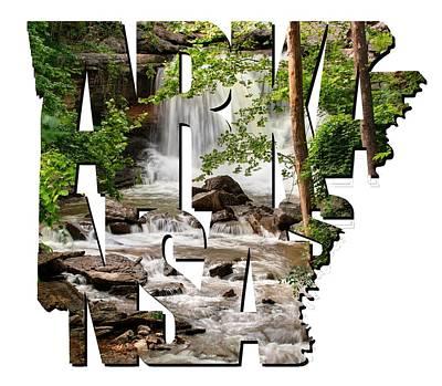 Arkansas Typography - Lake Ann Waterfall - Bella Vista Arkansas Print by Gregory Ballos