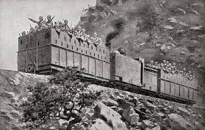 Action Drawing - Armoured Train In Reconnaissance Action by Vintage Design Pics
