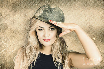Army Pin-up Girl Signing Up For Recruit Enrolment  Print by Jorgo Photography - Wall Art Gallery