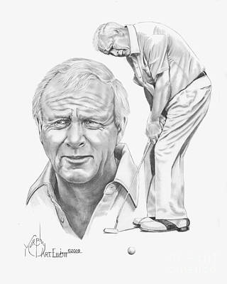 Golf Drawing - Arnold Palmer by Murphy Elliott