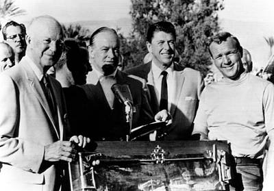 Arnold Palmer Right, Receives The Bob Print by Everett