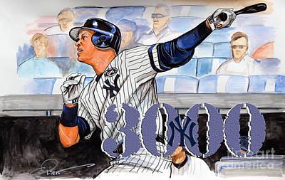 Yankees Drawing - Arod 3000 by Dave Olsen