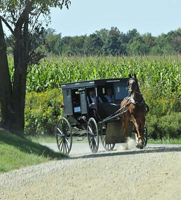 Amish Photograph - Around The Corner by David Arment