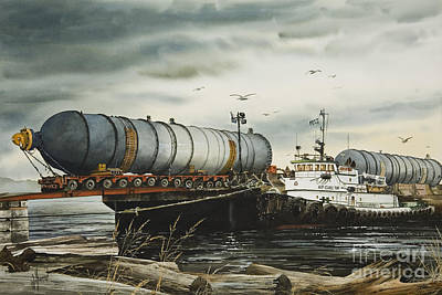 Navigation Painting - Arrival Of Reactor Vessels by James Williamson
